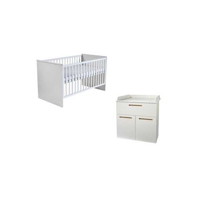 Kinderbetten - Roba® Kinderbett Wickelkommode (schmal 2 türig) Sparset CAMBINO » weiß  - Onlineshop OTTO