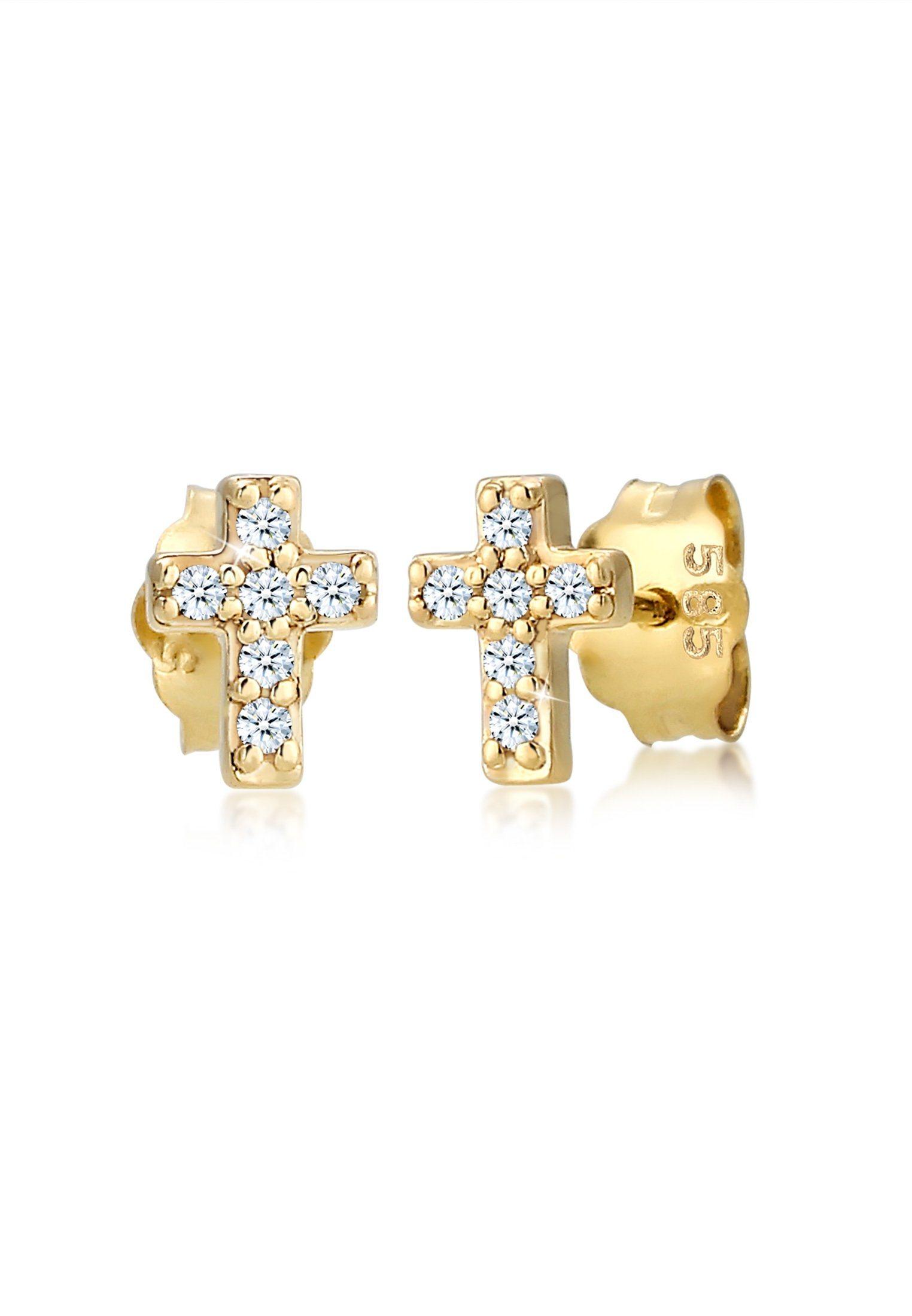 Diamore Paar Ohrstecker »Kreuz Religion Diamant (0.12 ct) 585er Gelbgold« | Schmuck > Ohrschmuck & Ohrringe > Ohrstecker | Goldfarben | Diamore
