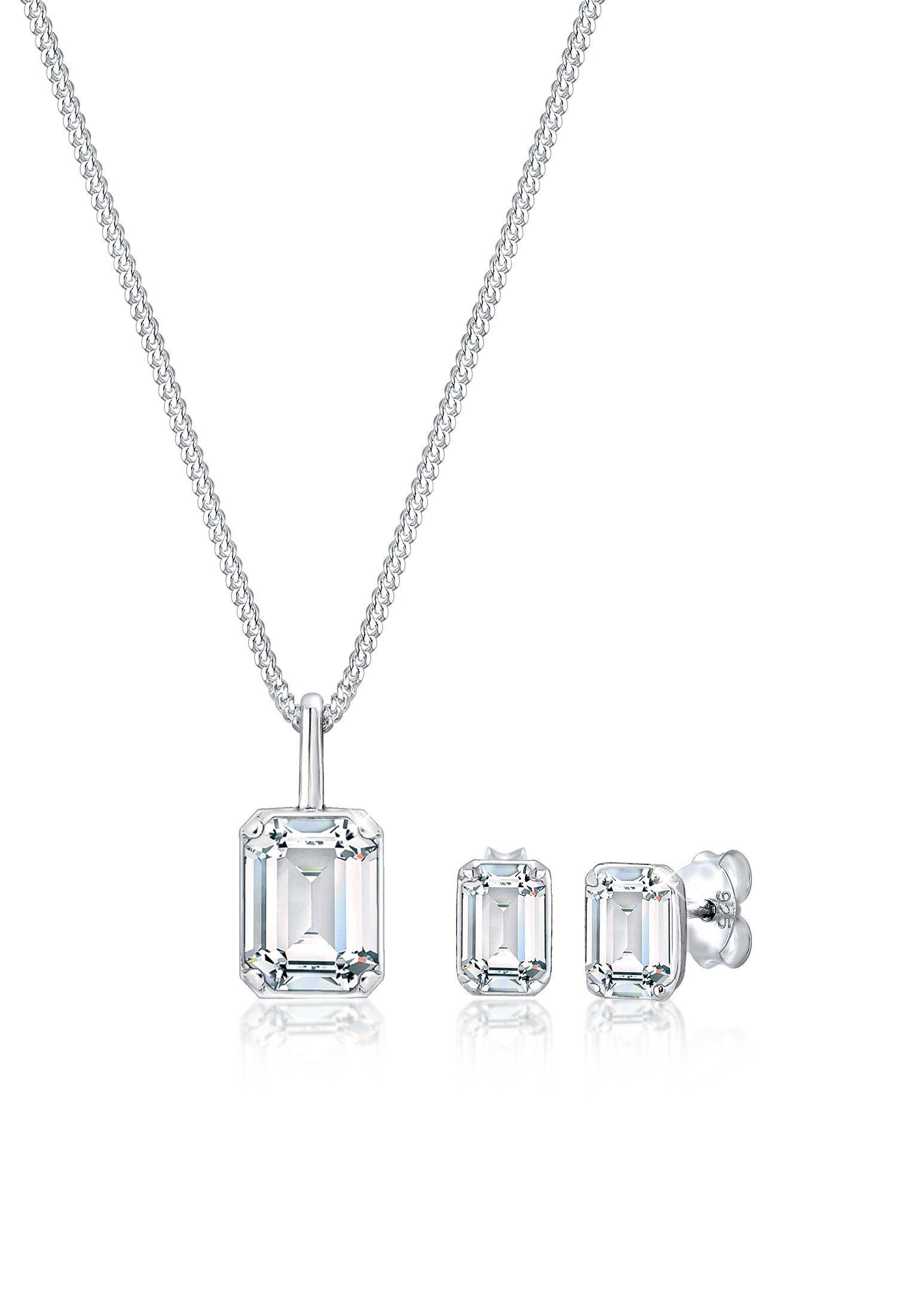 Elli Schmuckset »Kette Stecker Geo Swarovski® Kristalle 925 Silber«