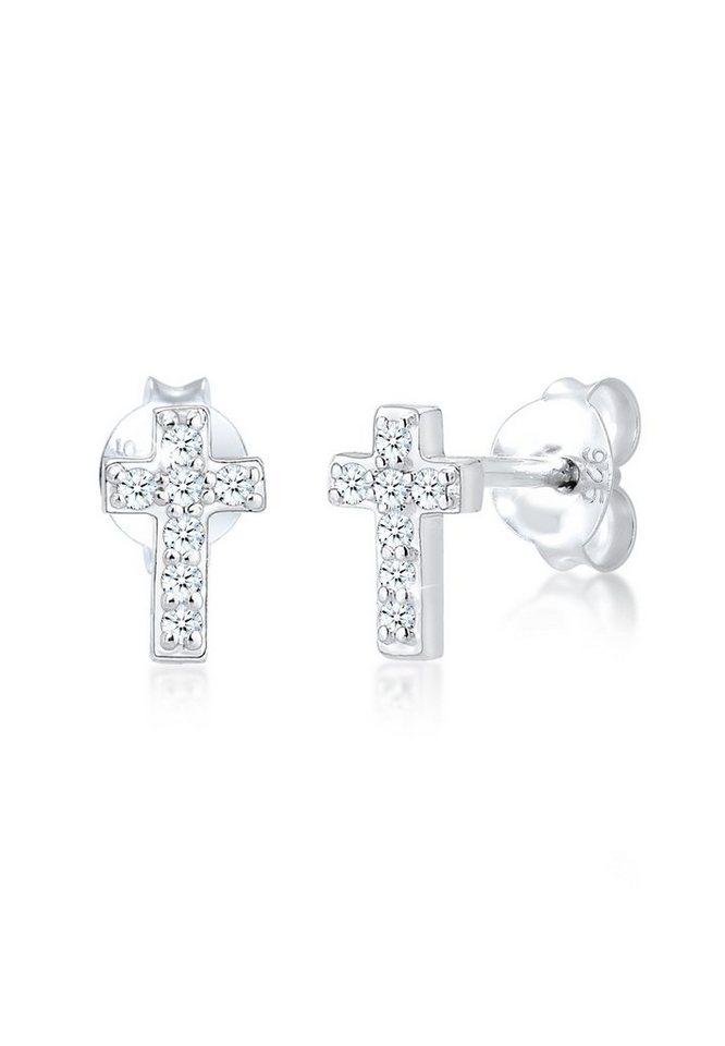 Diamore Paar Ohrstecker »Stecker Kreuz Glaube Diamant (0.14 ct) 925 Silber« 723edb3e2e