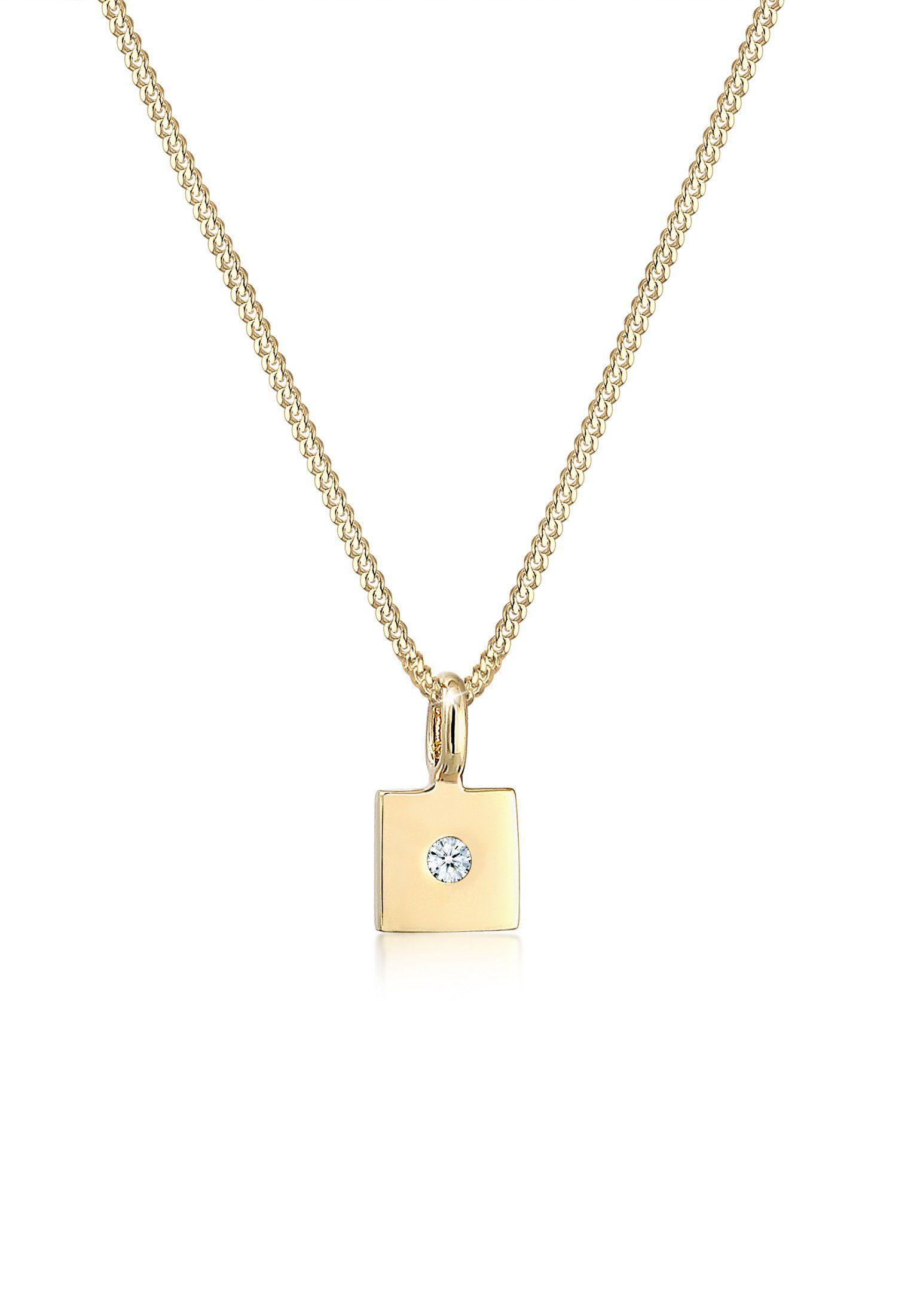 Diamore Collierkettchen »Viereck Anhänger Diamant (0.02 ct) 585er Gelbgold«