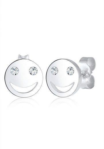 Elli Paar Ohrstecker »Smiley Face Emoji Swarovski® Kristalle 925 Silber«