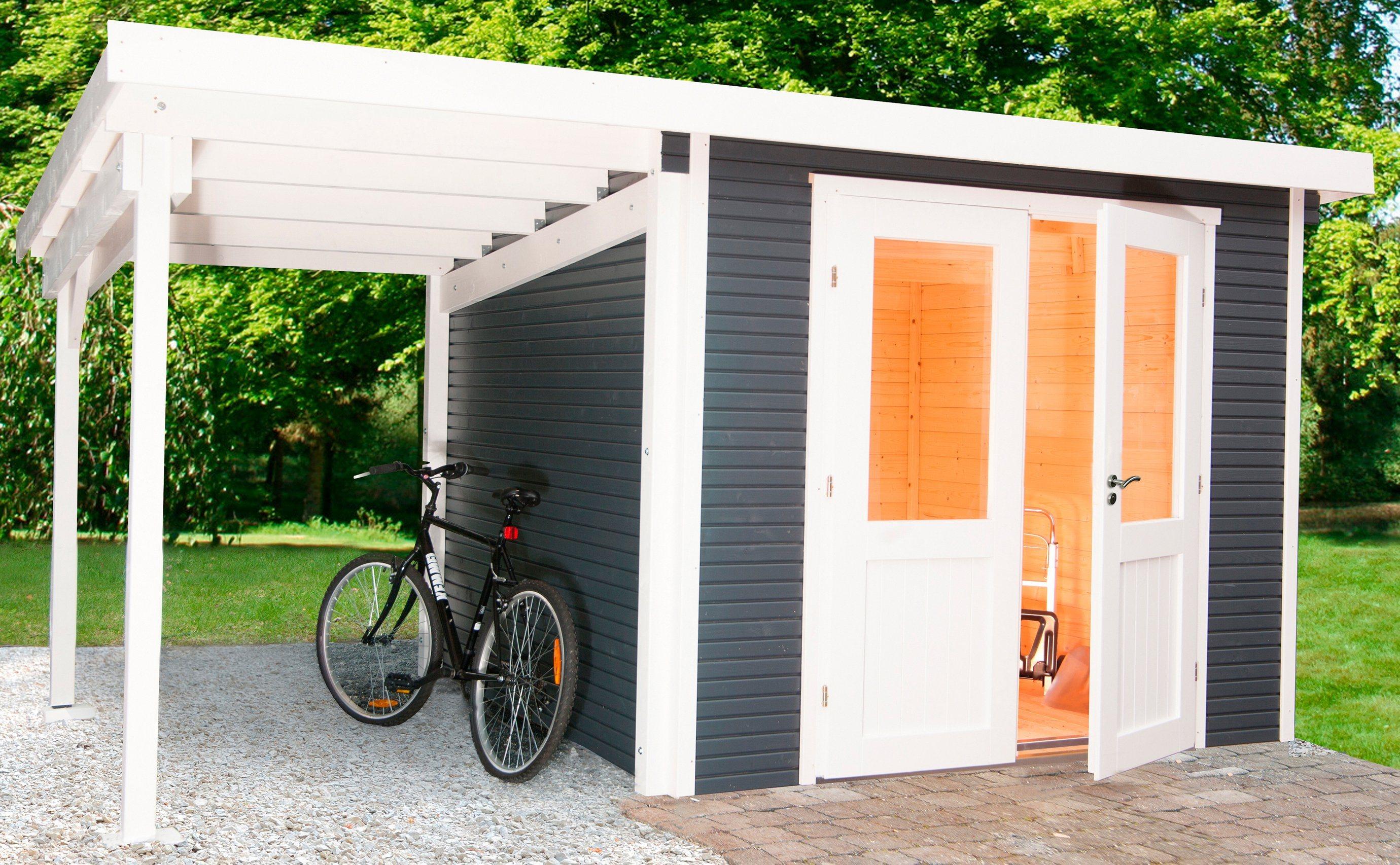 WOLFF Gartenhaus »Pulti Softline 2424«, BxT: 407x286 cm, anthrazit | Garten > Gartenhäuser | Wolff