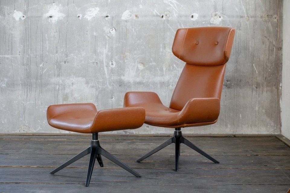 kasper wohndesign drehsessel ohrensessel mit hocker kunstleder braun zibo online kaufen otto. Black Bedroom Furniture Sets. Home Design Ideas