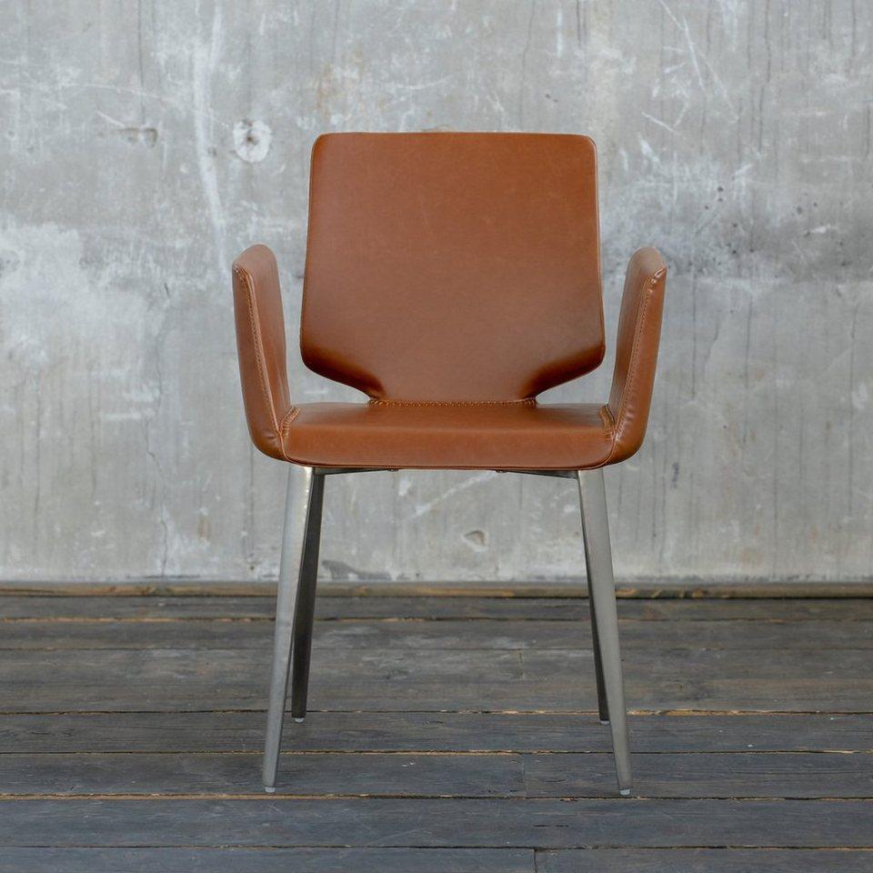 Kasper Wohndesign: Kasper-Wohndesign Esszimmerstuhl Kunstleder Braun »Hama