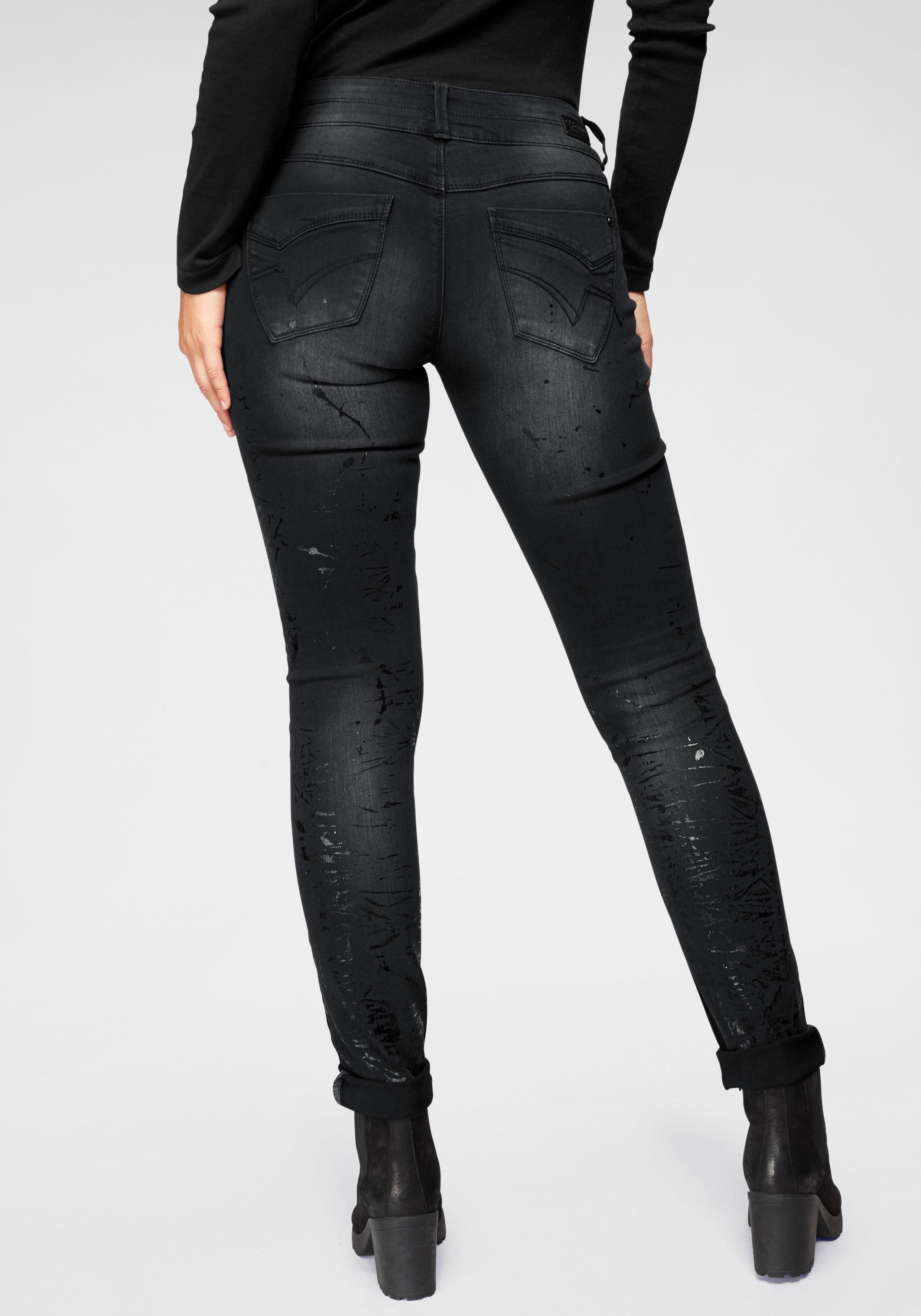 Timezone Jeans ENYA Elastische Slim Fit Jeans im Used Look