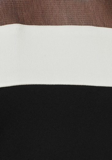Chiffonkleid Weicher Mit Netzware Black White w7AFng