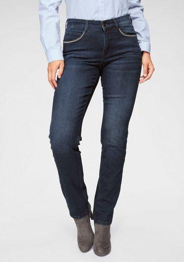 MAC Straight-Jeans »Melanie Glam Chain« Perlenband-Besatz an den forderen Taschen