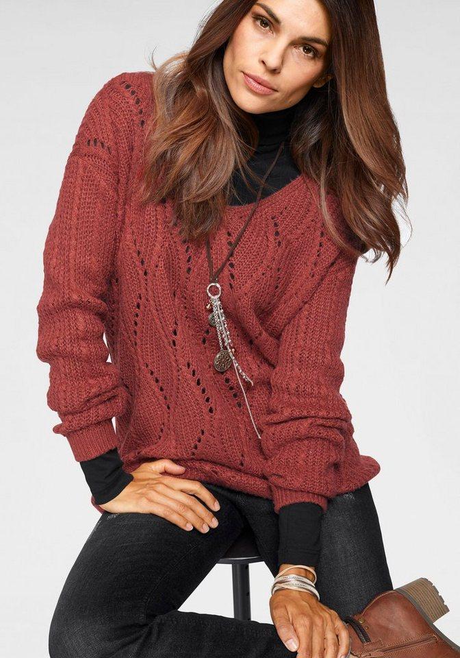 Damen Boysen s V-Ausschnitt-Pullover mit schönem Strukturstrick rot | 08941101551461