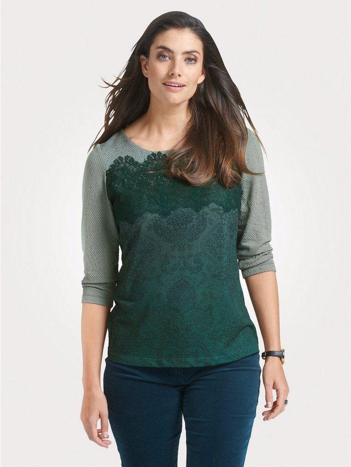 Damen Mona Shirt mit Strukturware grün   04055717187427