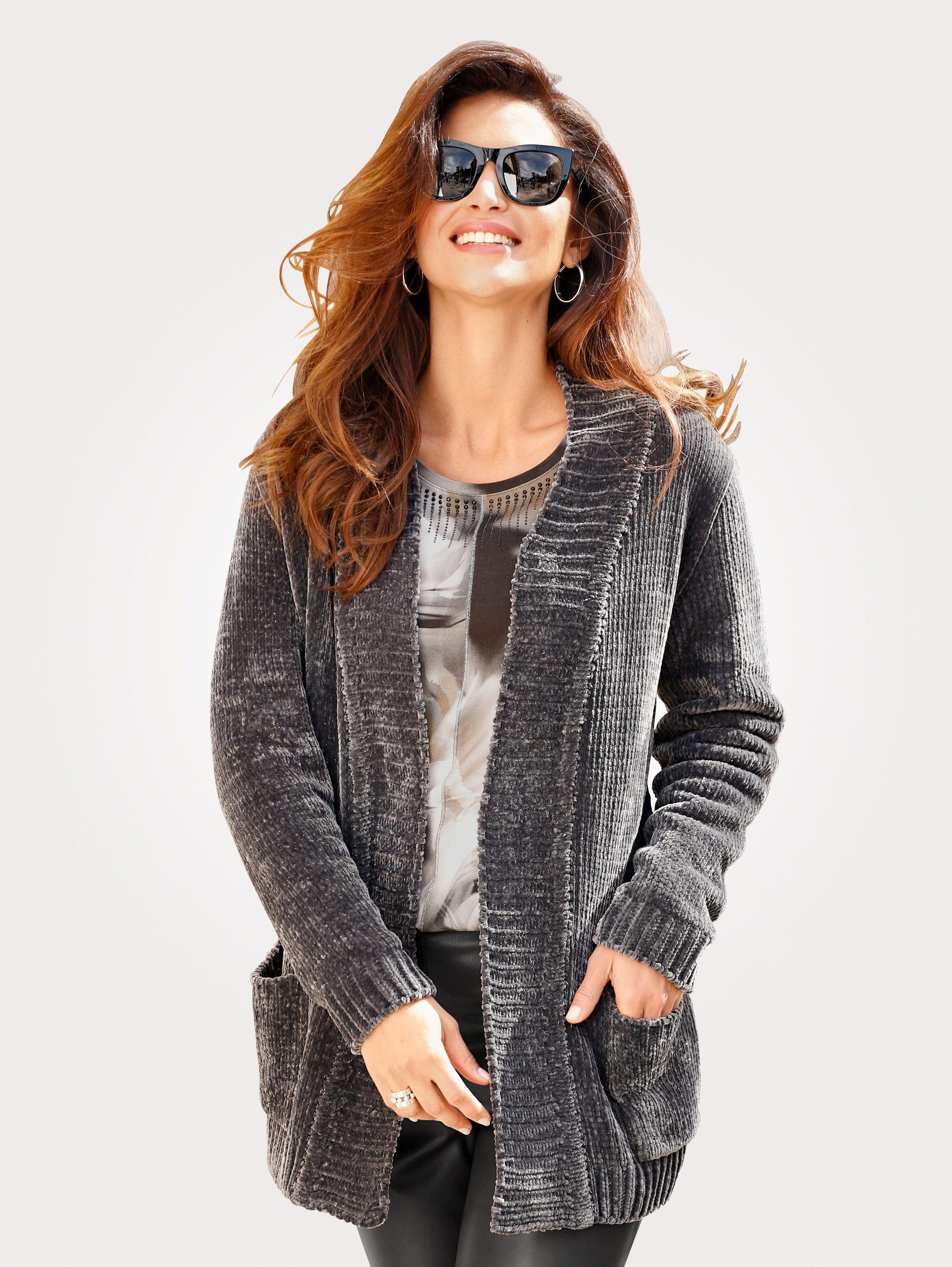 Mona Strickjacke aus weicher Chenille, Praktische aufgesetzte Taschen online kaufen | OTTO