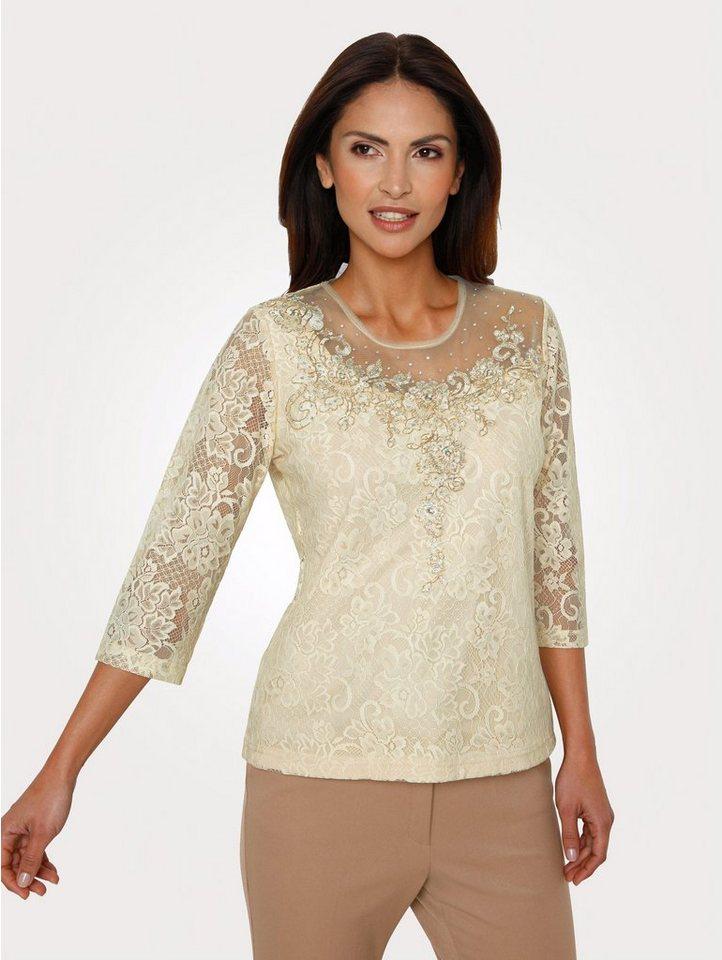 Damen Mona Spitzenshirt mit Strass-Steinen    04055717221138