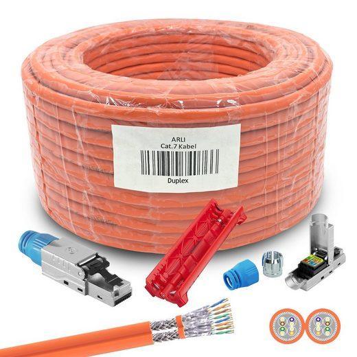 ARLI »Verlegekabel Duplex Cat7 100m + 10 RJ45 Netzwerkstecker CAT8.1 Werkzeuglose Montage Messer« Installationskabel, (10000 cm), Netzwerk Kabel