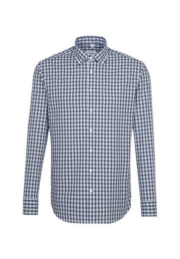 Schlussverkauf seidensticker Businesshemd »Shaped« Shaped Langarm Button-Down-Kragen Karo