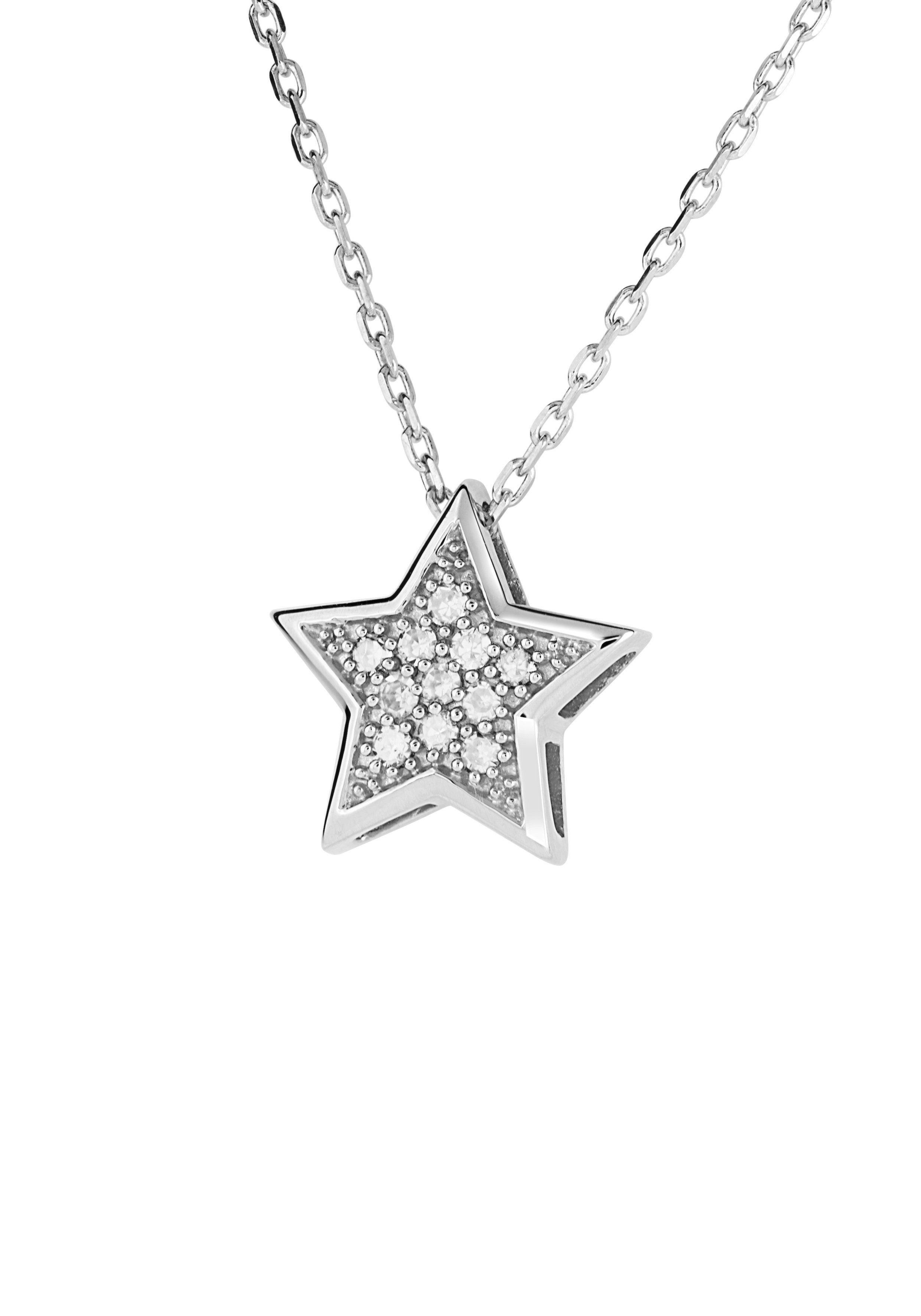 Diamond Line Goldkette mit Diamantanhänger mit 11 Diamanten