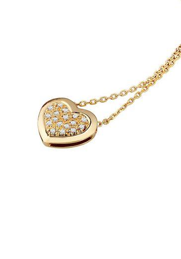 Diamond Line Goldkette mit Herzanhänger und 17 Diamanten