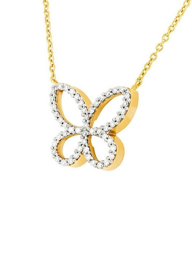 Diamond Line Goldkette mit Schmetterlings-Anhänger und 50 Brillanten   Schmuck > Halsketten > Ketten mit Anhänger   Goldfarben   Diamond Line