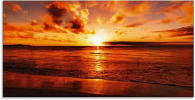 Artland Glasbild »Schöner Sonnenuntergang Strand«, Gewässer (1 Stück)