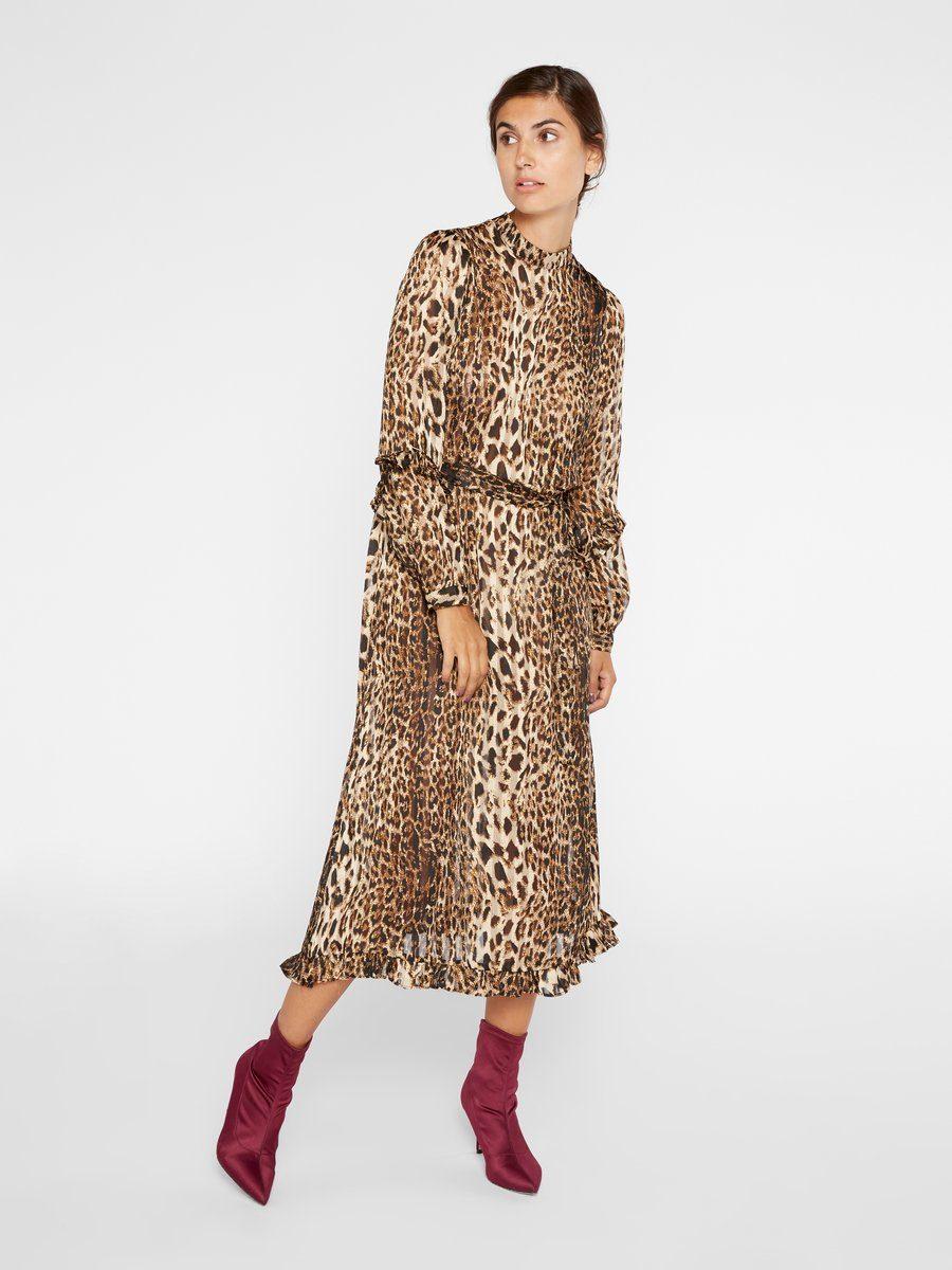 Y.A.S Leopardenprint Rüschen Kleid mit langen Ärmeln