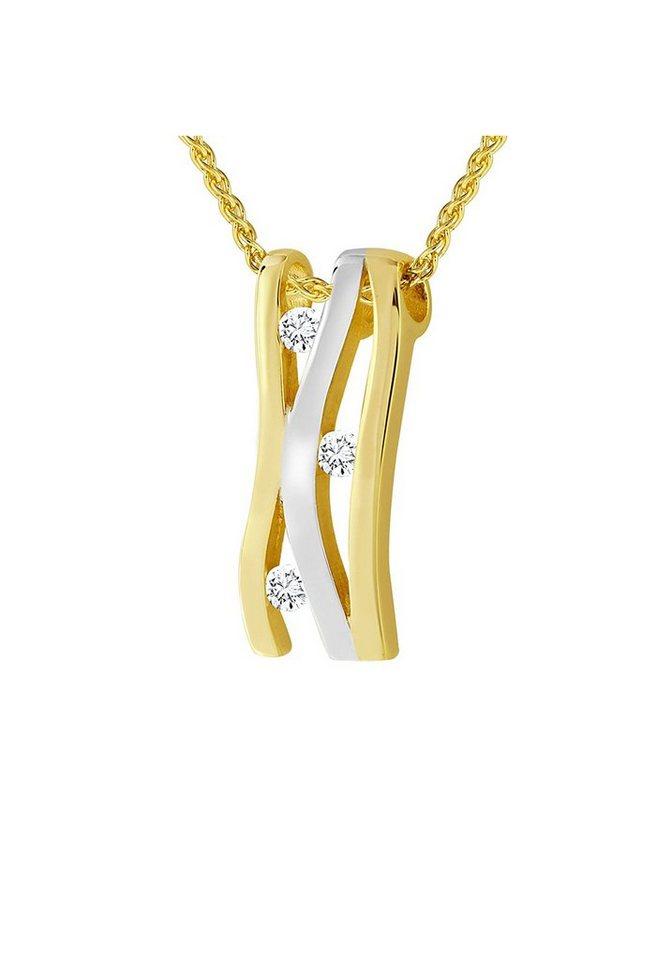 diamond line goldkette mit anh nger und 3 diamanten online. Black Bedroom Furniture Sets. Home Design Ideas