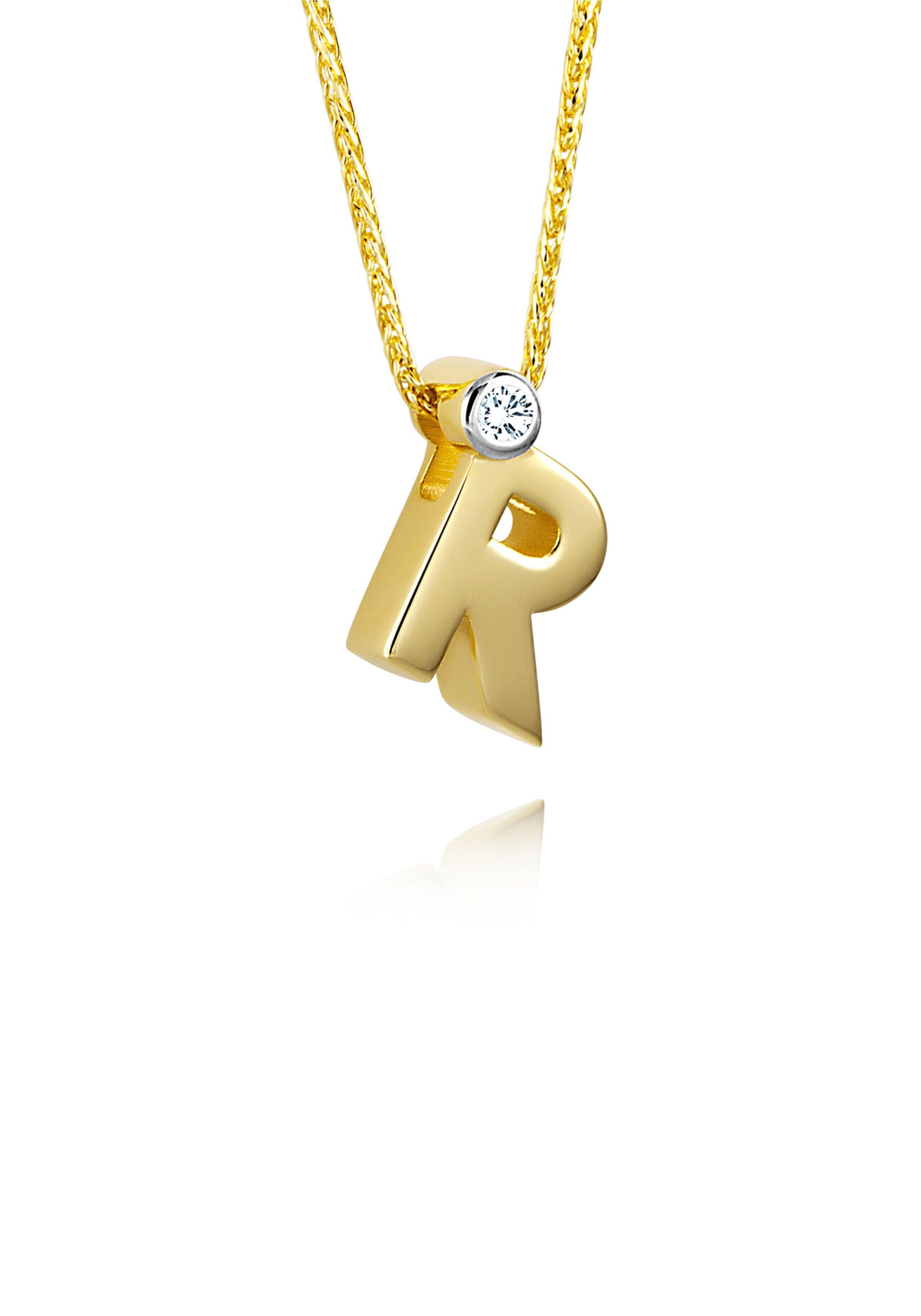 Diamond Line Goldkette mit Buchstabem R und Diamantbesatz
