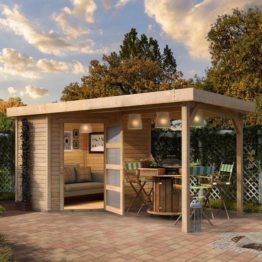 WOODFEELING Set: Gartenhaus »Schwandorf 3«, BxT: 505x238 cm, mit Anbaudach