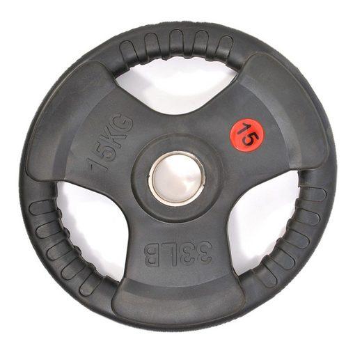 Technofit Hantelscheiben »Hantelscheiben 2x 15 kg schwarz gummiert für 50 mm Hantelstangen«