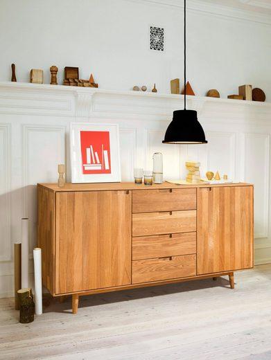 Home affaire Kommode »Scandi«, aus massivem Eichenholz, mit sehr viel Stauraum, Breite 160 cm