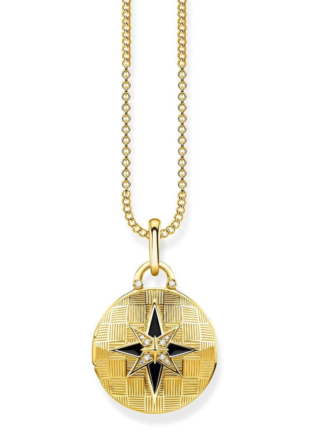 THOMAS SABO Kette mit Anhänger »D_KE0037-895-25-L45v, Medaillon Nautischer Stern rund« mit Emaille und Diamanten