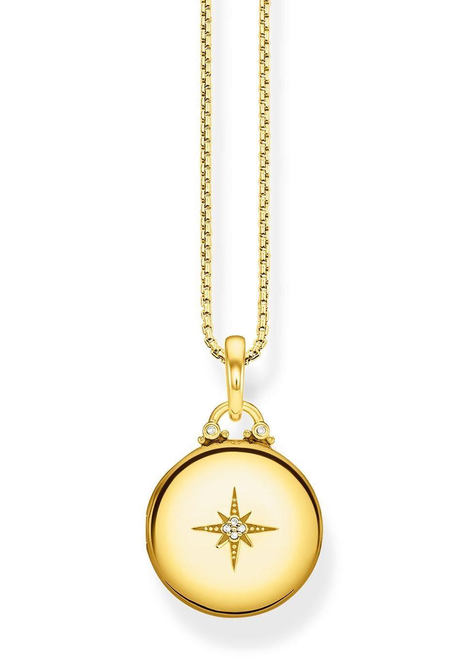 THOMAS SABO Kette mit Anhänger »D_KE0036-924-14-L45v, Medaillon gold rund« mit Diamanten