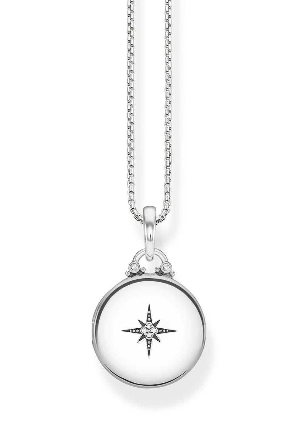 THOMAS SABO Kette mit Anhänger »D_KE0036-356-14-L45v, Medaillon silber rund« mit Diamanten