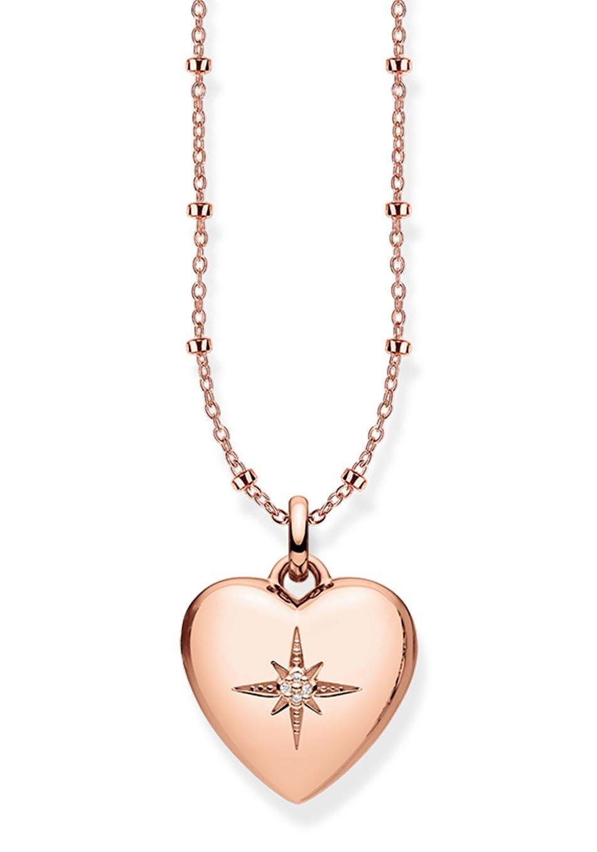 THOMAS SABO Herzkette »D_KE0035-923-14-L45v, Herzmedaillon rosé« mit Diamanten | Schmuck > Halsketten > Herzketten | Silber | THOMAS SABO
