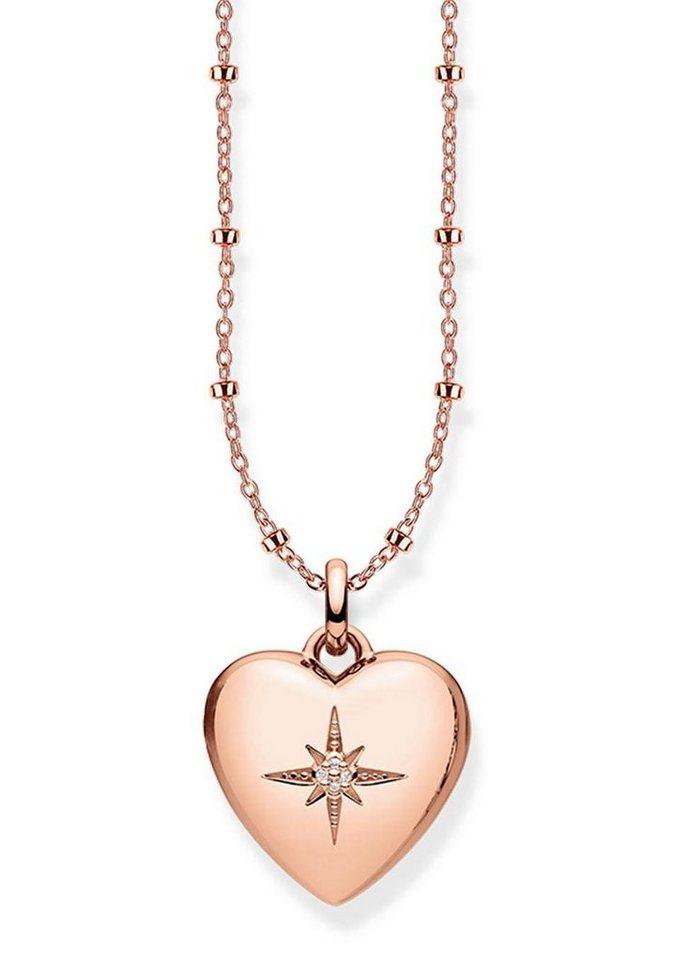 THOMAS SABO Herzkette »D_KE0035-923-14-L45v, Herzmedaillon rosé« mit Diamanten | Schmuck > Halsketten > Herzketten | Goldfarben | THOMAS SABO