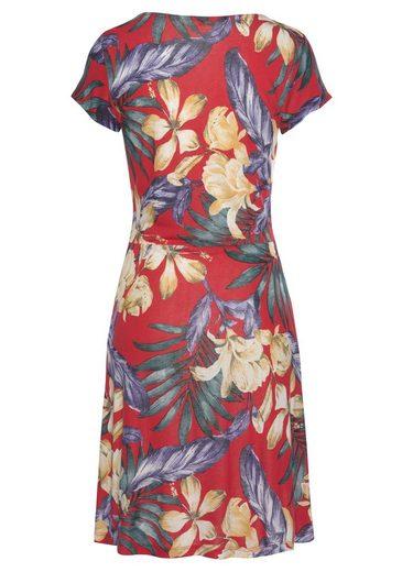 blau Gerafftem ausschnitt Strandkleid Mit Rot Bedruckt Lascana V 4qS3AcRjL5