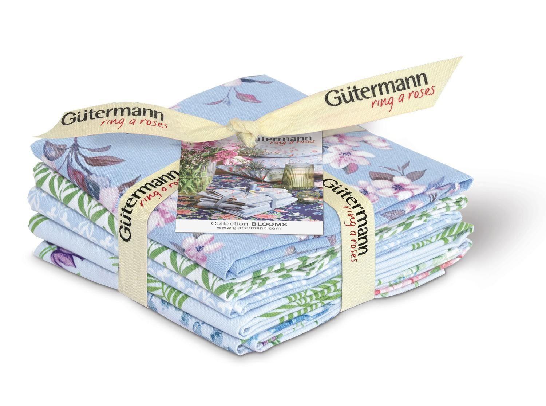 """Gütermann Stoffpaket """"Blooms Hellblau"""" 5er-Set"""