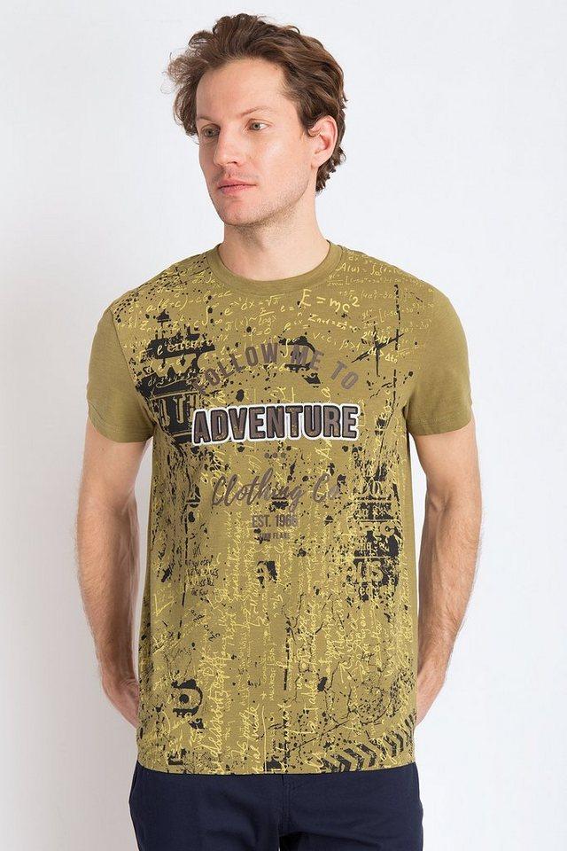 Herren Finn Flare T-Shirt mit großflächigem Frontprint grün | 06438157352040
