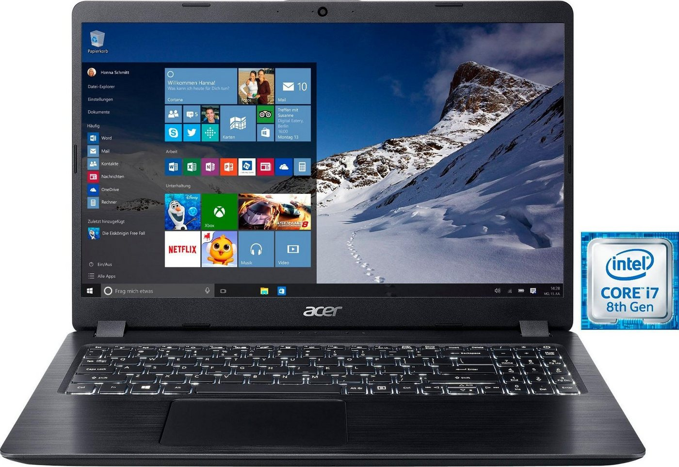 Image of Acer A515-52G-70QM Notebook (39,62 cm/15,6 Zoll, Intel Core i7, 1000 GB HDD, 128 GB SSD, inkl. Office 365 Personal (ESD)