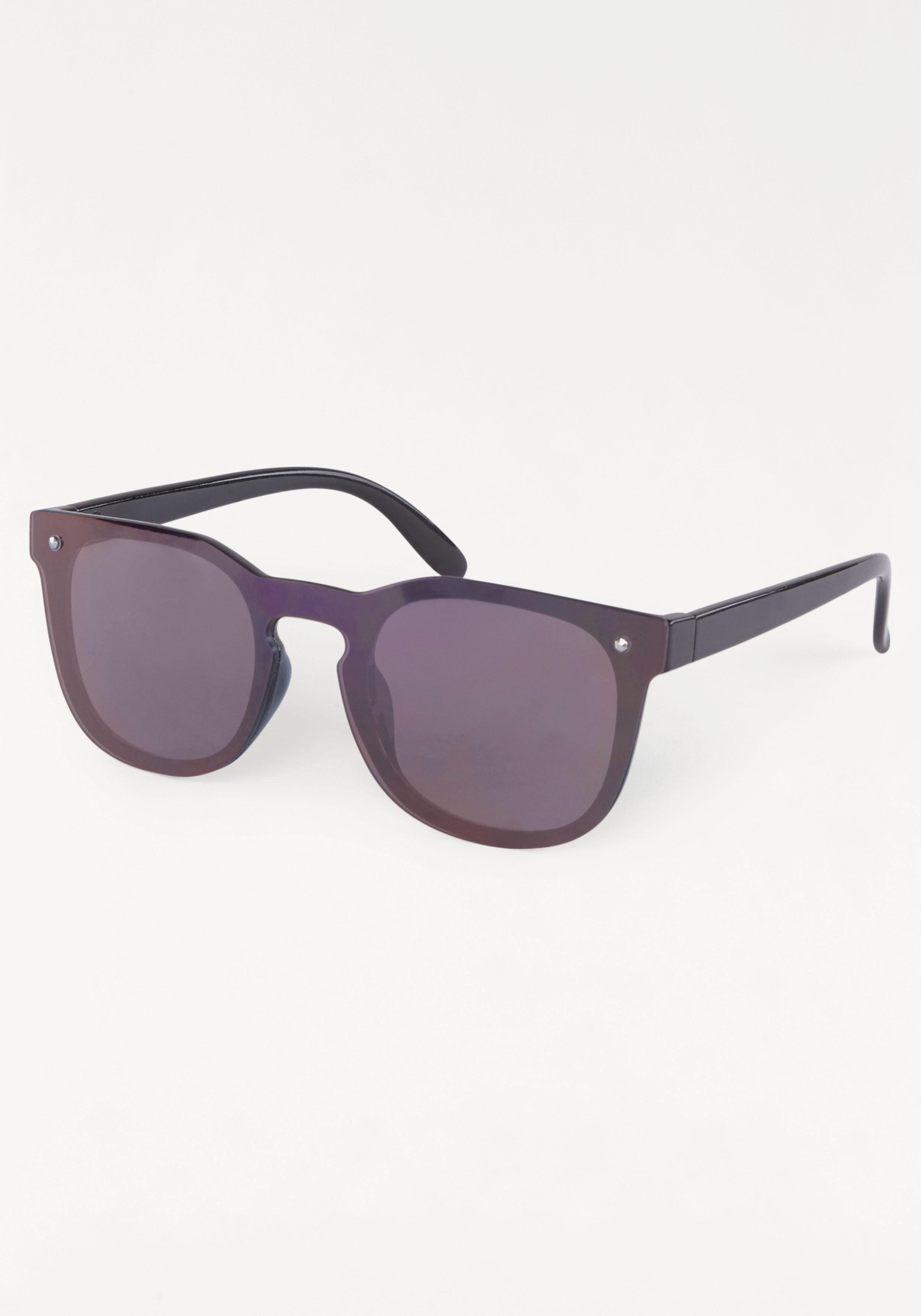 Sonnenbrille Verspiegelte Gläser, Vollrand, Wayfarer Look