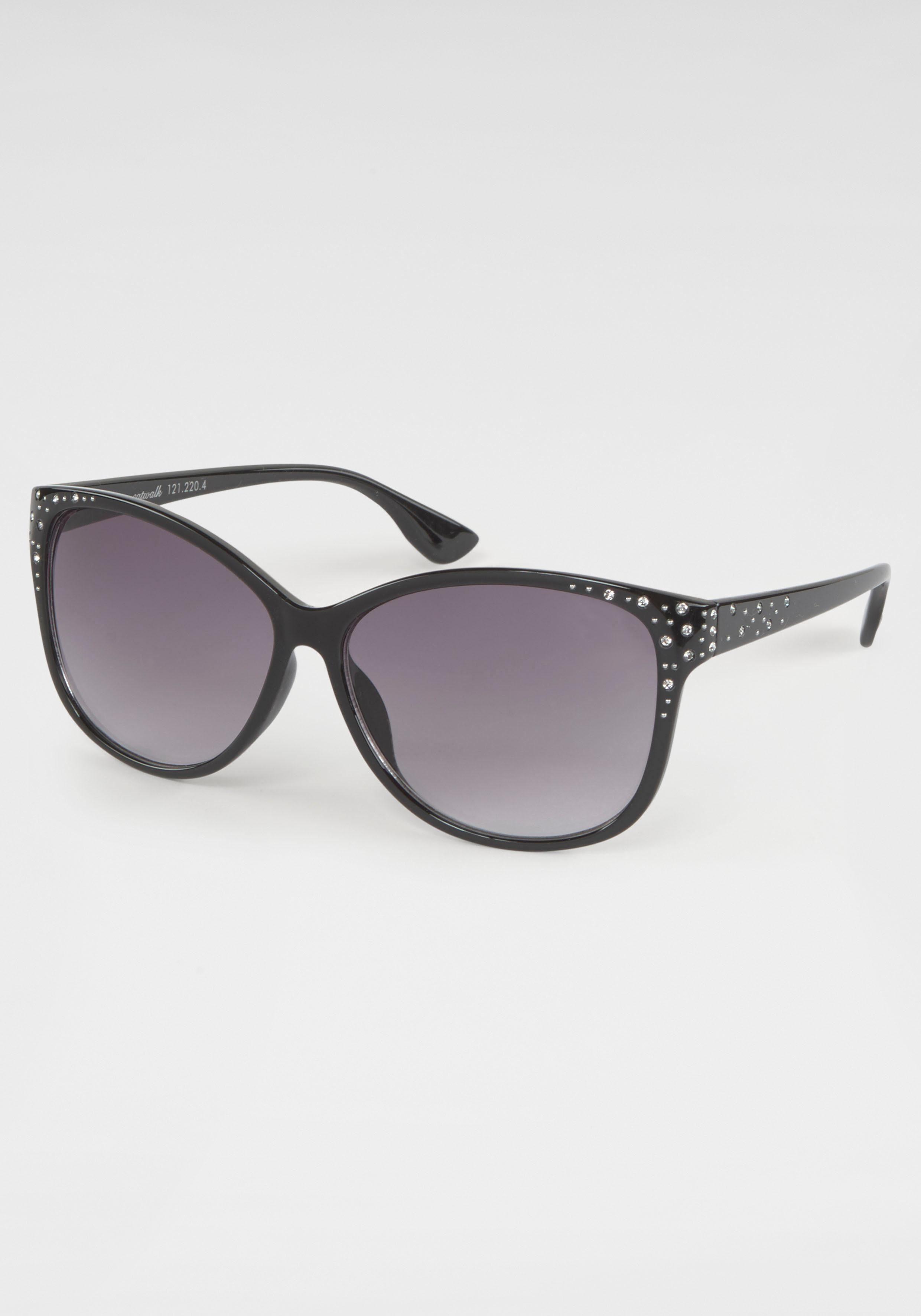 catwalk Eyewear Sonnenbrille (1-St) Damen Sonnenbrille, mit Glitzersteinen, Vollrand
