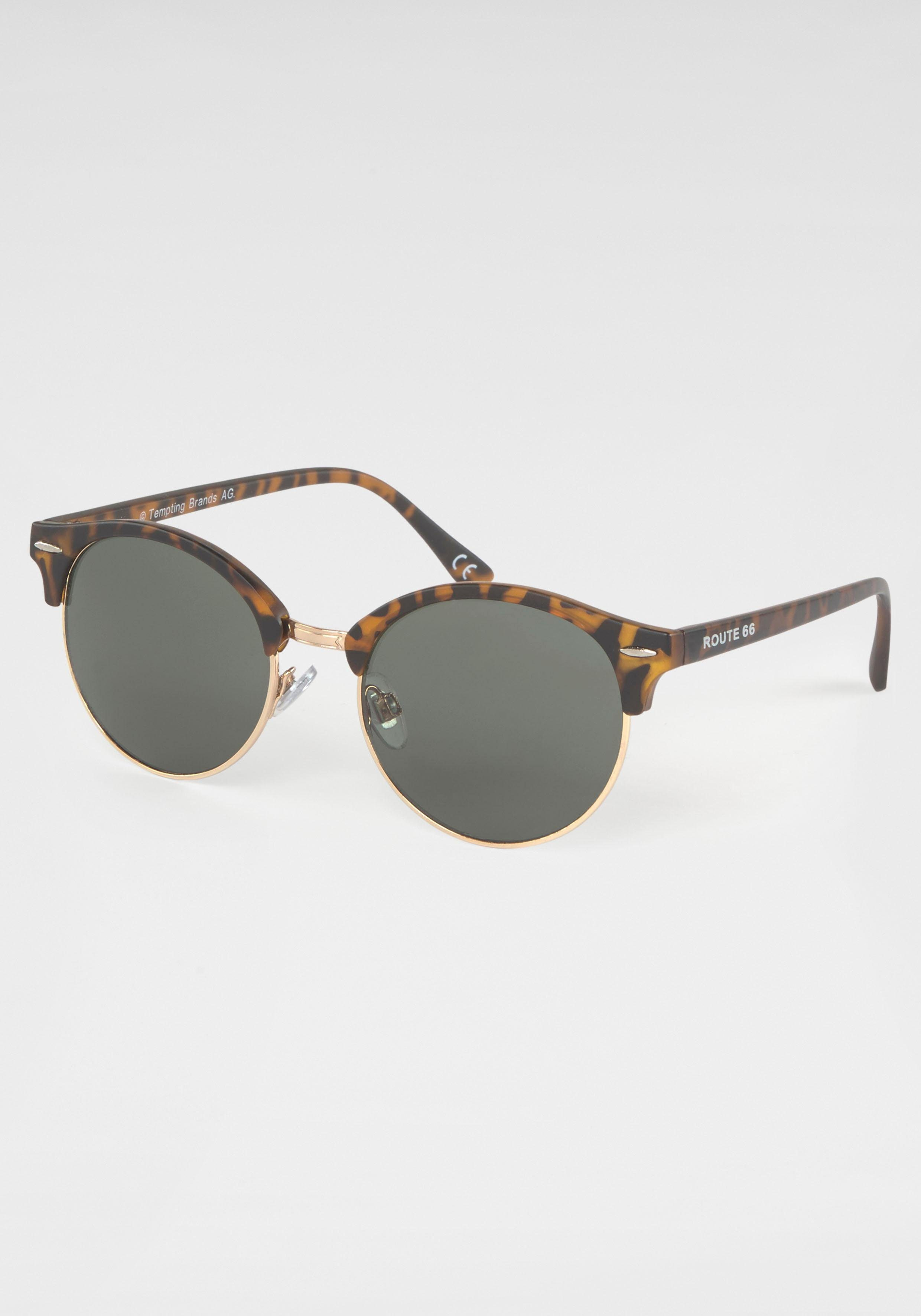 ROUTE 66 Feel the Freedom Eyewear Retrosonnenbrille Clubmaster Style, Damen Sonnenbrille, Animal Look