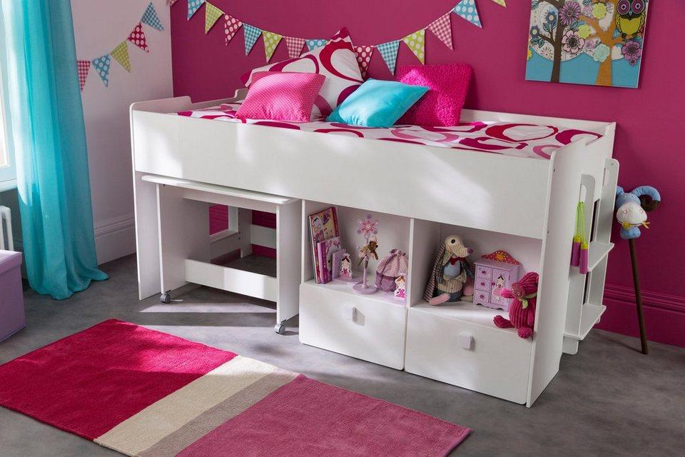 Demeyere Hochbett mit Schreibtisch und Schubkästen | OTTO