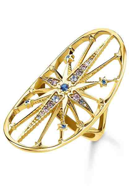 THOMAS SABO Fingerring »Royalty Stern gold, TR2223-959-7-50, 52, 54, 56, 58, 60« mit Spinell, Zirkonia und Glassteinen