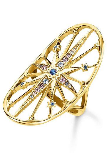 THOMAS SABO Fingerring »Royalty Stern gold, TR2223-959-7-50, 52, 54, 56, 58, 60«, mit Spinell, Zirkonia und Glassteinen