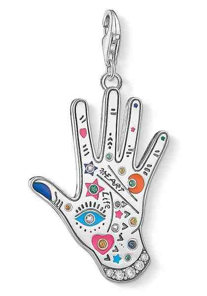 """THOMAS SABO Charm-Einhänger »Charm-Anhänger """"Vintage Hand"""", Y0051-845-7« mit Zirkonia und Glassteinen"""