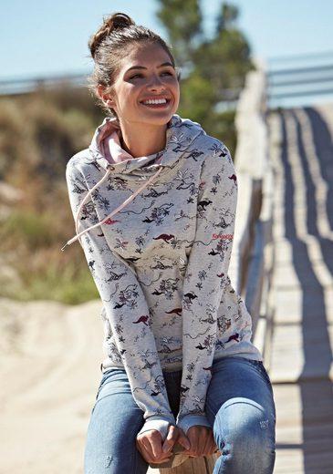 KangaROOS Kapuzensweatshirt im Allover-Print mit kontrastfarbenem Kapuzen-Futter