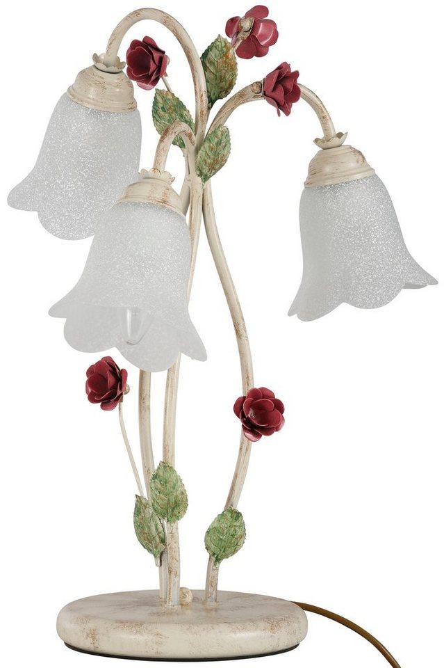 tischleuchte rosa 3 flammig schirme aus wei en bl tengl sern online kaufen otto. Black Bedroom Furniture Sets. Home Design Ideas