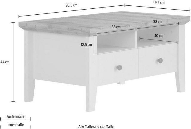 Wohnzimmertische - Home affaire Couchtisch »Banburry«, mit 2 Schubladen, 95, 5 cm breit  - Onlineshop OTTO