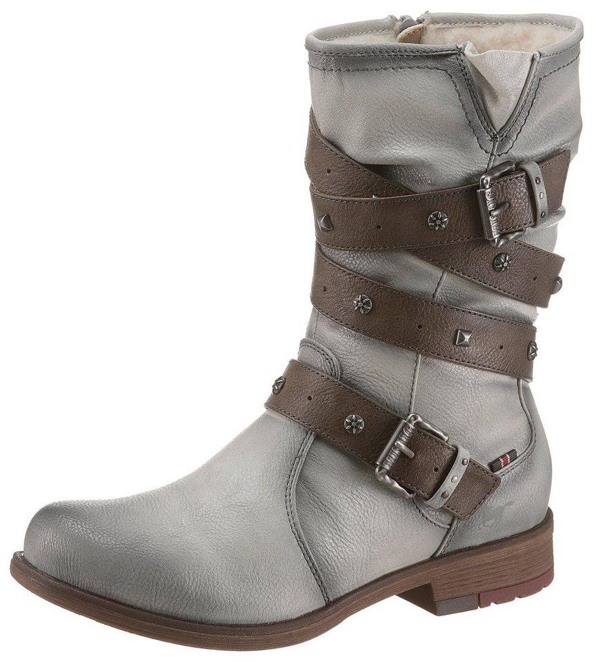 Mustang Shoes Winterstiefel mit Bändern und Zierschnallen | Schuhe > Stiefel > Winterstiefel | Grau | Mustang Shoes