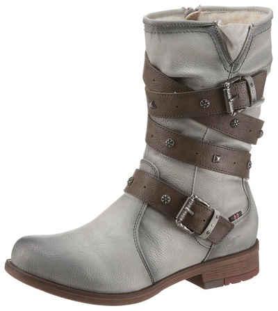 Mustang Shoes Winterstiefel mit Bändern und Zierschnallen 2c089258f9