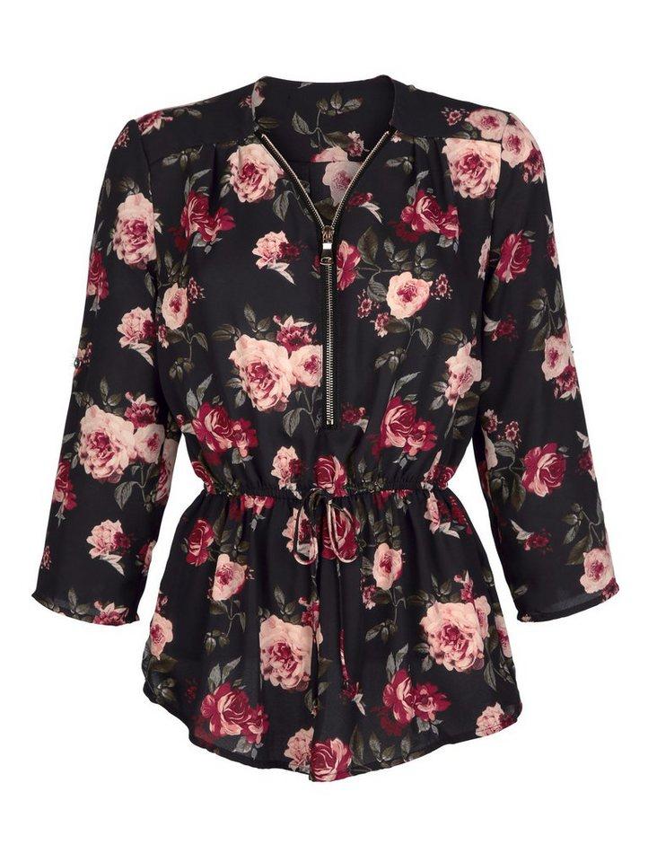 Dress In Tunika mit schönen Rosendruck rundum | Bekleidung > Tuniken > Sonstige Tuniken | Schwarz | Polyester | Dress In